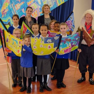 Thurrock 100 Stories launch - historian Mike Ostler with children and staff of Chadwell St Mary Primary