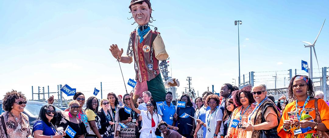 Kinetika's giant docker puppet