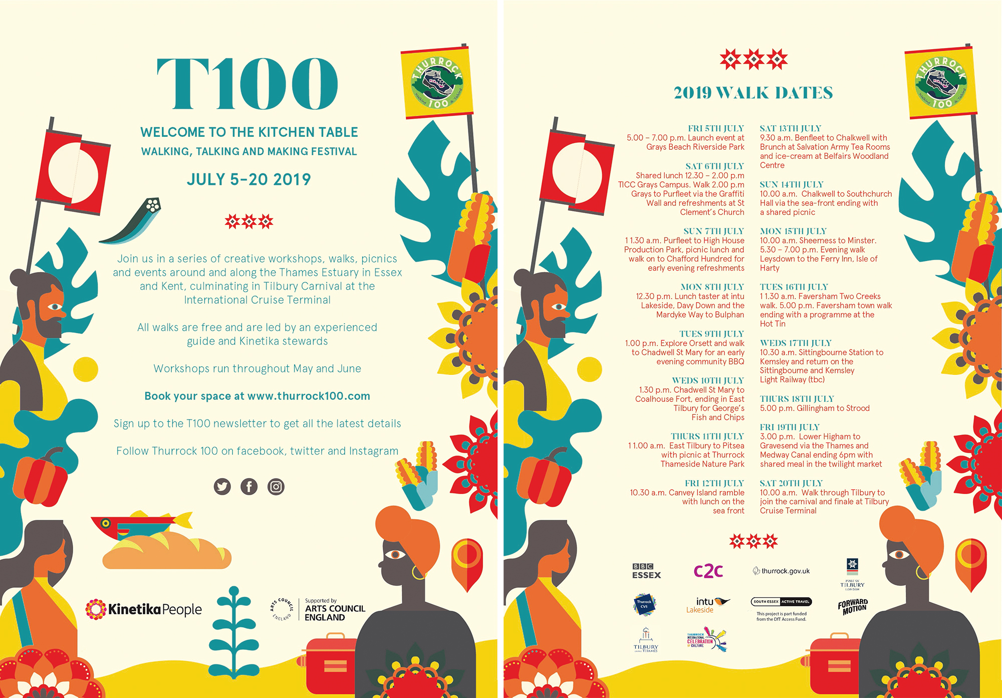 Thurrock100 T100 2019 walking festival flyer