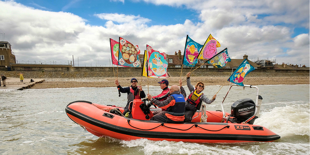 Taking the T100 flags across the Thames Estuary in a RIB photo by Mike Johnston