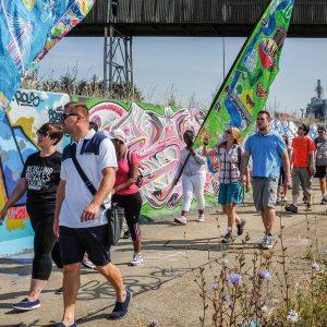 2015 Day 3 Walking along the graffiti wall Grays to Purfleet