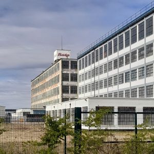Outside view of the derelict Bata shoe factory in East Tilbury