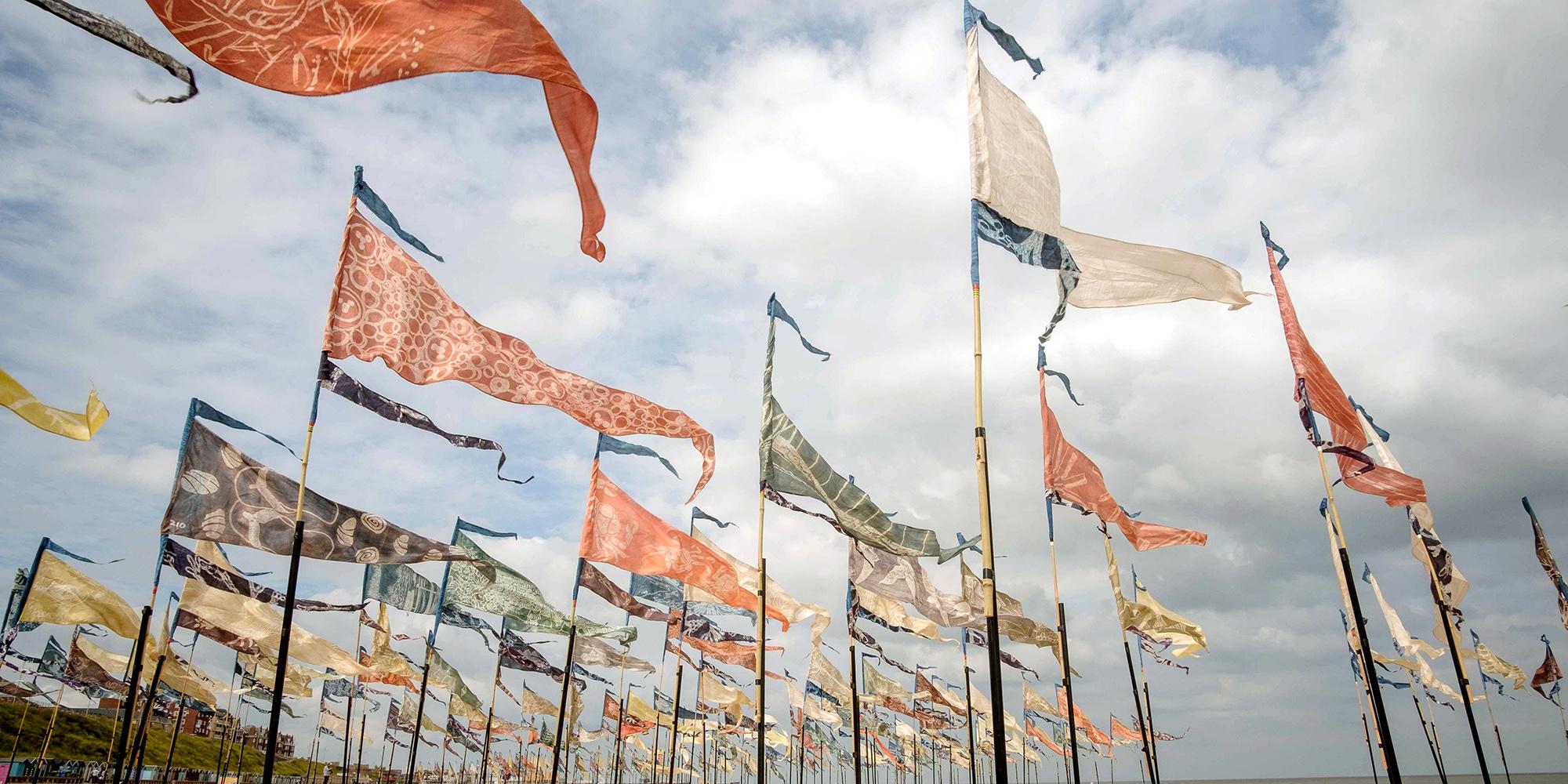 Beach of Dreams flag installation
